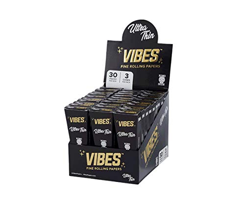 Vibes Pre Rolled King Size Cones Hemp Ultra-Thin 30 Count Display Box With 3 Cones Each (90 Cones), Natural Hemp and Arabic Gum, Chlorine Free Technology Packing Tool Included