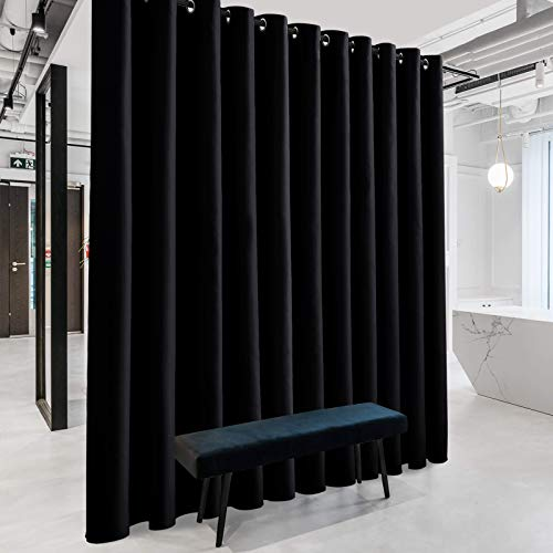 RYB HOME Blackout Room Divider Curtains Thermal Insulated Energy Efficiency Noise Reduce Verical Blinds for Living Room Bedroom Dining Sunroom Basement Wall Divider, 1 Pc, Black, W 20ft x L 8ft