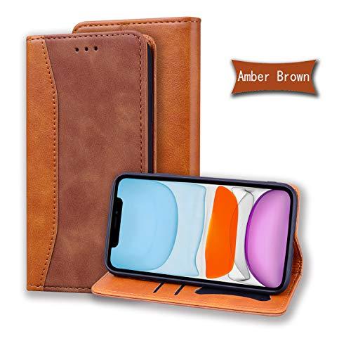 LODROC iPhone XR Hülle, TPU Lederhülle Magnetische Schutzhülle [Kartenfach] [Standfunktion], Stoßfeste Tasche Kompatibel für Apple iPhone XR - LOHF0200075 Braun