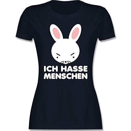 Anime - Ich Hasse Menschen - weiß - XXL - Navy Blau - Hase - L191 - Tailliertes Tshirt für Damen und Frauen T-Shirt