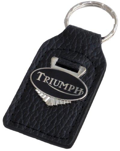 Triple-C Triumph Motorcycle Leather and Enamel Key Ring Key Fob