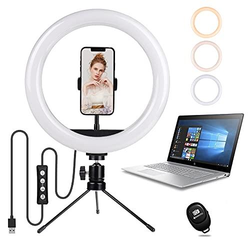 LED Selfie Ringlicht mit Stativ Handy: Geekoto 10' Desktop dimmbare Ringleuchte für Live-Streaming/Zoom-Meetings/YouTube-Video/Volg/tiktok, kompatibel mit iPhone & Android