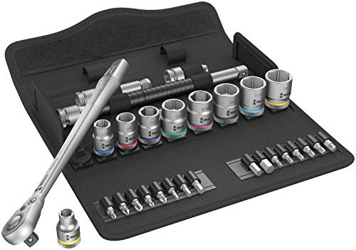 """Wera 05004050001 8100 SB 10 Zyklop Metal Ratchet Set with Push-Through Square, 3/8"""" Drive, Imperial, 29 Pieces"""