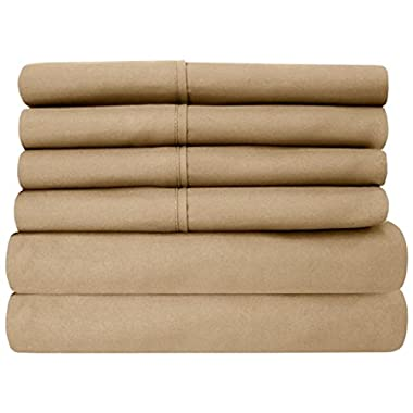 Sleepwell , 4 Pcs Sheet Set 400 Thread Count 100% Cotton With 15 Inch Deep Pocket Stain Resistant, Durable And Easy To Use (Queen Size, Taupe Solid)