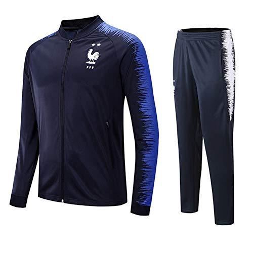 GLMAS Sportanzug,Herren Fußball Langarm Trainingsanzug Jersey Jacke Frankreich Herbst Outdoor Sportswear Pullover Reißverschluss Atmungsaktiv 2 Stück Set Blau M-XXL-blue-M