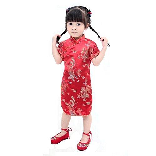 Hooyi Floral Baby Qipao Girl Dress Chi-Pao Cheongsam Kids Dresses (Red Dragon, 2)