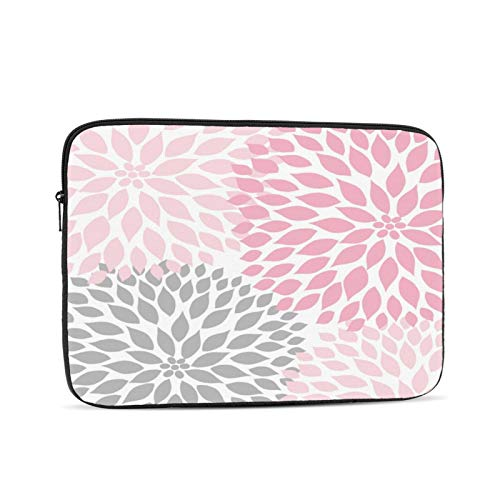 Laptop Sleeve Bag Pink, Gray, White Dahlias Portable Zipper Tablet Cover Bag Notebook Computer Protective Bag,Black