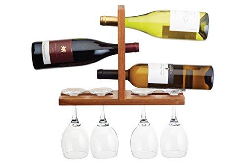 Bar Craft 35x 26.5x 10cm Bottiglia e Bicchiere da Parete in Legno di Acacia, Marrone