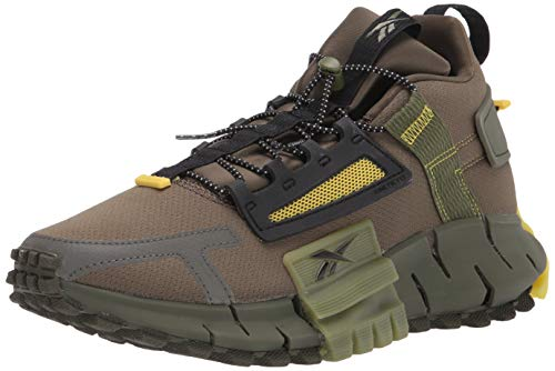 Reebok unisex adult Zig Kinetica Edge Running Shoe, Army Green/Black/Utility Yellow, 11 Women 9.5 Men US