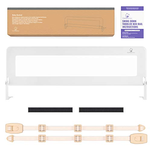 Bed Rail for Toddlers - Extra Long Toddler Bed Rails Guard for Kids Twin, Double, Full Size Queen & King Mattress - Baby Bedrail for Children (White XL)…