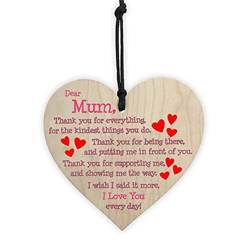Moskado Handmade Wooden Hanging Heart Plaque Gift for Mum Loving Thoughtful Present