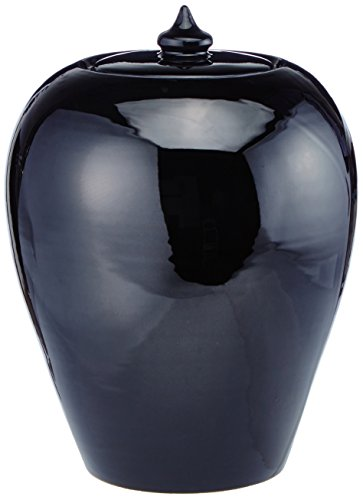 SIGNATURE HOME COLLECTION Deckelvase, Keramik, schwarz, 21 x 21 x 25 cm