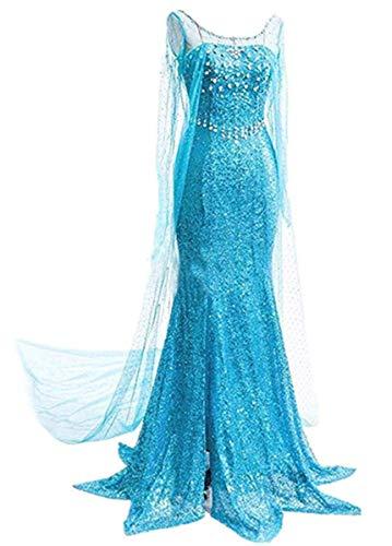 LOBTY Vestido Elegante de Princesa para Mujer Vestido de Lentejuelas Vestido Largo de Noche para Mujer Vestido Festivo de Halloween de Navidad Mardi Gras Disfraz de Carnaval Vestidos de Cosplay S-XXL