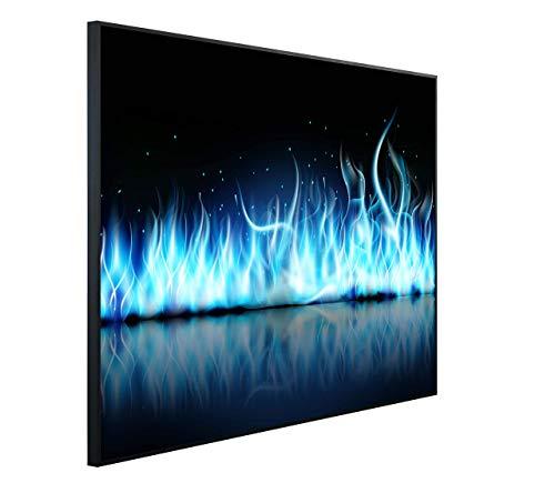 InfrarotPro C42-1200 | Infrarotheizung 1200 Watt Bildheizung 300+ Motive | Made in Germany | Geprüfte Technik | Ultra-HD Auflösung, F02: Kamin Blaue Flammen, 115x100x3cm