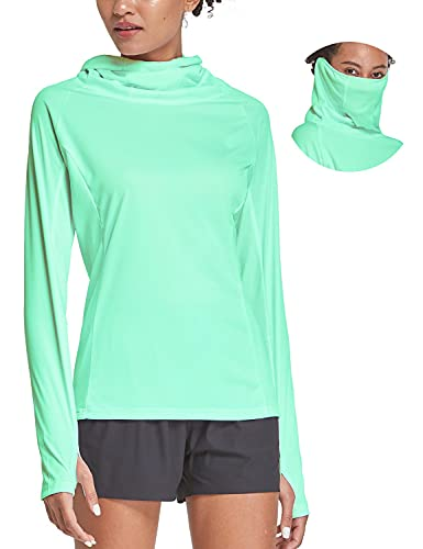 BALEAF Women's Hiking Long Sleeve Shirts with Face Cover Neck Gaiter UPF 50+ Lightweight Quick Dry SPF Fishing Running Hoddie Light Green Size S