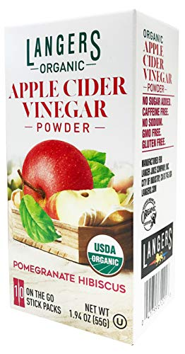Langer's Organic Apple Cider Vinegar Powder Sticks, Pomegranate Hibiscus, Pack Of 10, 1 Ounce (Pack of 1)