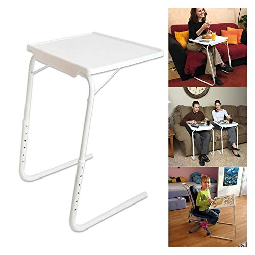 FHT Mobile Lap Table Laptop Table Adjustment Portable Table Height Adjustable Folding Sofa Side Desk Multifunction Snack Laptop TV Tray Bed Table Days Overbed Table (Color : White)