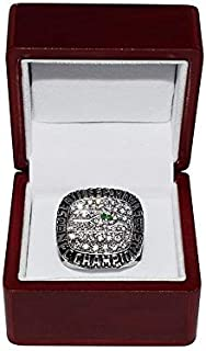 SEATTLE SEAHAWKS (Russell Wilson) 2014 NFC WORLD CHAMPIONS Rare Collectible Replica Silver NFL Football Championship Ring with Cherrywood Display Box