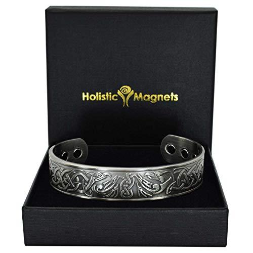 Holistic Magnets® Wikinger Kupfer Armband Medium (Antik-Silber) Herren Magnetarmbänder für Arthritis Originelle Geschenke für Männer Magnetarmband +Geschenkbox (VEP)-Adler(M: Handgelenk 16,5-19cm)