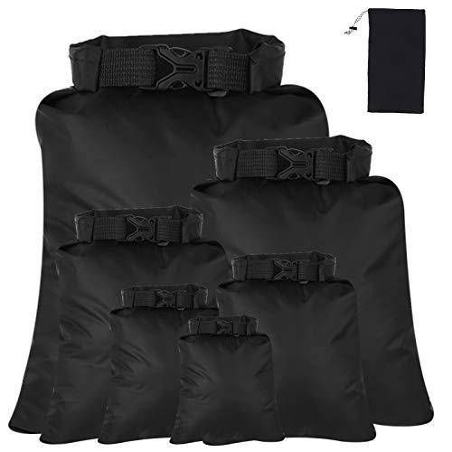 Winkwinky 6 Pcs Waterproof Dry Bag Kit, 1.5L+2.5L++3L+3.5L+5L+8L Dry Sacks, Bset Storage Bags for Rafting Boating Hiking Camping Fishing Cycling (Black)