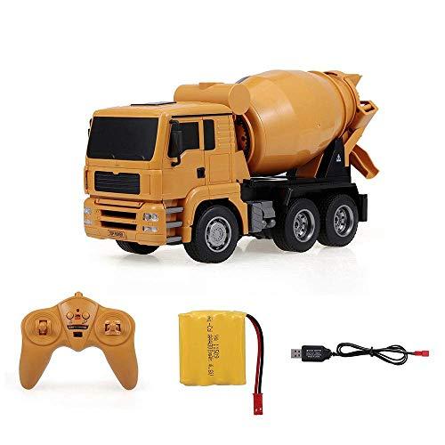 HKX Coche Mezclador RC 1:18 Camión Mezclador de Control Remoto de 6 Canales Modelo de Juguete para niños Grande Juguete de construcción Control Remoto de luz (Regalo de cumpleaños Festivo)