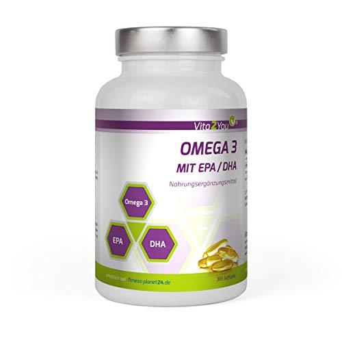 Omega 3 Kapseln 1000mg mit EPA & DHA - 365 Softgel Kapseln - Fischöl - Jahrespackung - Premium Qualität