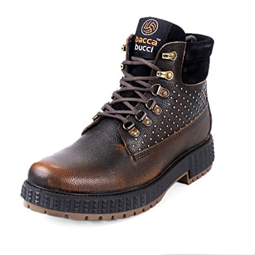 Bacca Bucci® Men's Storm Surge Water Resistant Premium Oil Full Grain Leather Insualted/Rugged/Height Increaser Work Boots-Brown