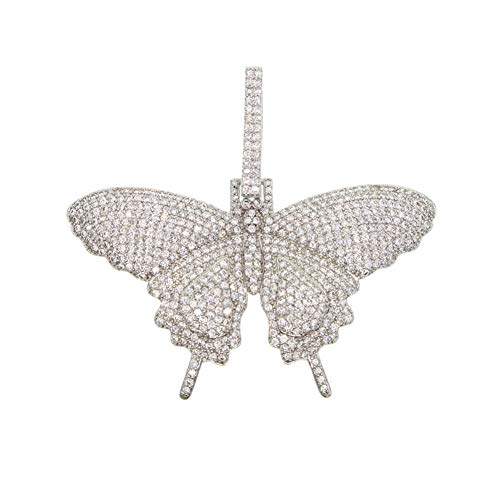 LDGR Men's Women Sparking Bling Pink Animal Butterfly Pendant Necklaces Jewelry (Metal Color : Silver butterfly)