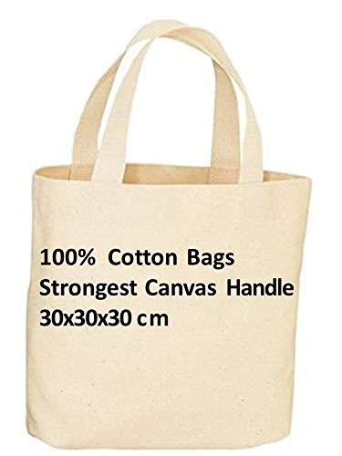 Pack de 10 bolsas de la compra reutilizables de lona de alta calidad con asa larga y larga duración, 100% algodón. Color natural ideal para impresión y bordado. Peso de la tela: 14 g, 30 x 30 x 25 cm