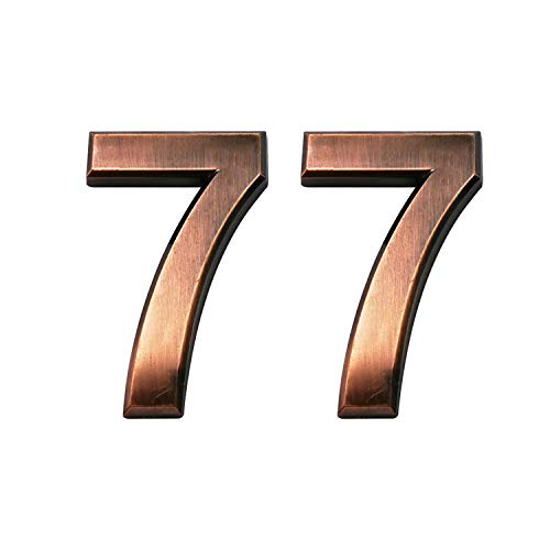 2.75 Inch Adhesive House Numbers, Mailbox Numbers, Street Door Numbers, Self-Stick Address Signs for Apartments, Double Bronze Number 7