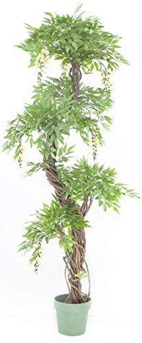 Vert Lifestyle Calidad Artificial Crema Floración Japonés Fruticosa Árbol, Réplica Oficina Interior Al Aire Libre Topiary Tree Plant - 165cm Alto