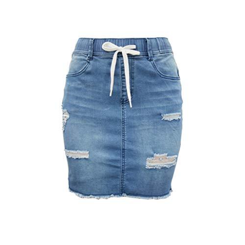 Qijinlook Falda Cortas Vaquera Mujer/Faldas Saten/Falda de Flecos,Falda Vaquera destrozada Cintura Alta Falda elástica Vestido Jeans Cintura Jeans Ropa/Tallas Grandes .S-2XL