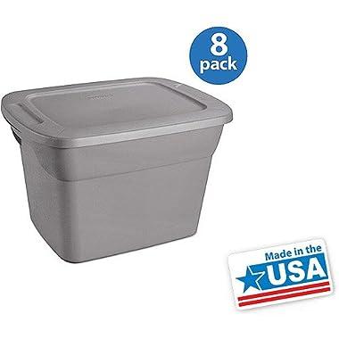 Sterilite 18 Gallon Tote Box- Steel, Set Of 8
