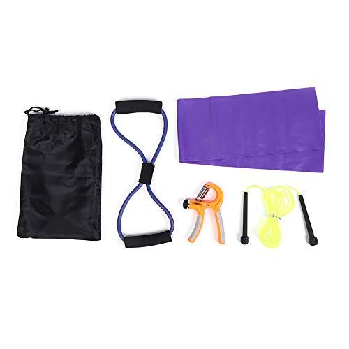 Niunion Yoga Fitness Set, 5Pcs/Set Cuerda expansora de Pecho Resistente al Desgaste Ejercitador de Mano Ajustable Grip Toalla de látex Bolsa de Almacenamiento de Cuerda para Saltar