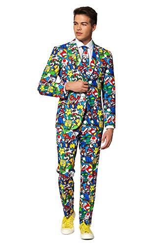 OppoSuits Lustige Verrückt Abschlussball Anzüge für Herren - Komplettes Set: Jackett, Hose und Krawatte,Mehrfarbig,48