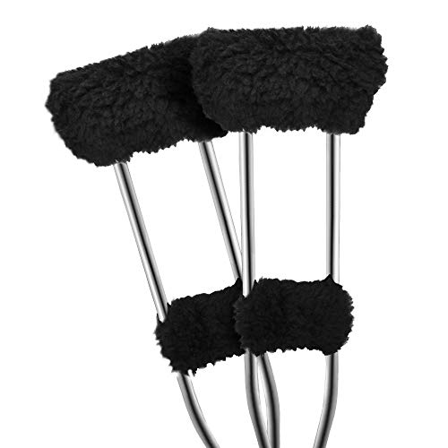 FunCee Covers for Underarm Crutches Pads, Plush Faux Sheepskin Forearm Handles and Hand Grips with Foam Cores, 1 Pair (Black)