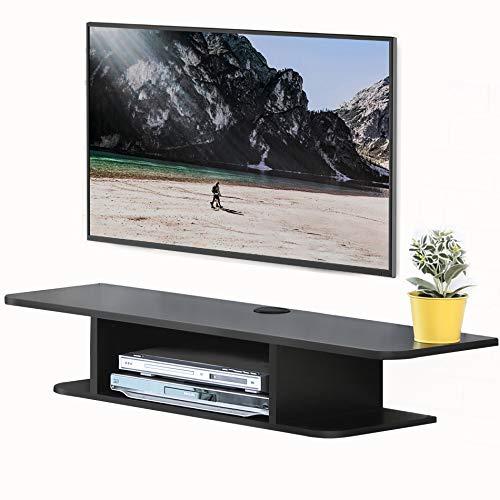 FITUEYES TV Lowboard Hängeschrank für 47-55 Zoll Fernseher, Multimedia Konsole passend für DVD/CD/AV Geräte, Hängeboard TV Schrank Schwarz, 105 x 30 x 17.7 cm