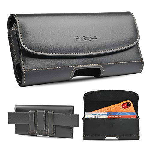 iPhone 11, iPhone 11 Pro Max, Xs Max, Xr Belt Holster With Slim Case Installed. Chestnut Stitching On Black PU Leather. Strong 3 Magnets Closure, Reinforced Belt Loops And ID Card Slot. (Slim Case)