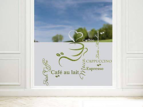 GRAZDesign Sichtschutzfolie Küche Coffee Kaffee Espresso, Fensterfolie zur Deko/Sichtschutz, Glasdekorfolie Blickdicht / 80x57cm