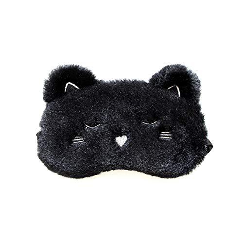 H HOMEWINS Schlafmaske 3D Süße Atmungsaktive Augenmaske aus 100% Naturseide & Plüsch Verstellbares Gummiband Schlafbrille Nachtmaske für Schlafen Reisen Party (Schwarz Katze)