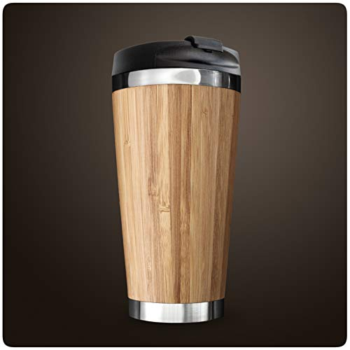 PRECORN Bambus Kaffeebecher to go 100% Auslaufsicher Coffee to go Becher stylisch 450 ml doppelwandig aus Edelstahl