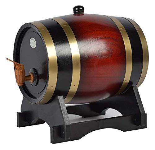 AMDHZ Dispensador de Barril de Whisky, barriles envejecidos de Roble Home Whisky Barrel Decanter para Vino, licores, Cerveza y Licor, 5L, Color Retro Decantador de Whisky