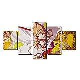 QQWERModular HD Cuadro sobre Lienzo 5 Piezas Moderno Salón Decoraciónmanga De Anime.Impreso Sin Marco Pared Art Poster Pintura150×80Cm