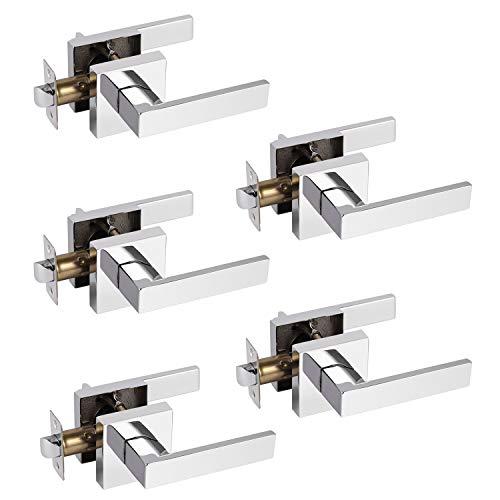 Probrico 5 Pack Hall & Closet Passage Door Levers Non-Locking Polished Chrome Handleset Keyless Feature Modern Square Door Handles Interior Heavy Duty Hardware
