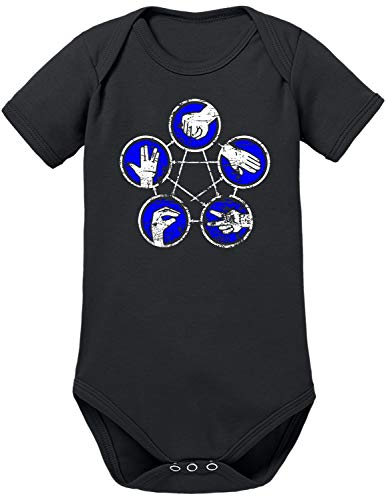 TShirt-People Stein Papier Schere Echse Spock Rules Baby Body 74 Schwarz