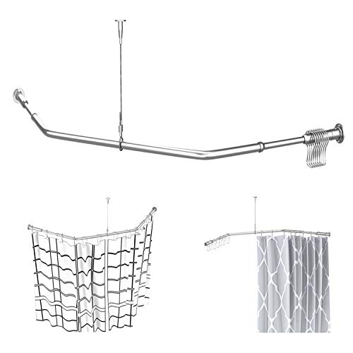"""Quany Life Corner Shower Curtain Rod - 304 Stainless with Ceiling Support,for Bathroom Bathtub, Clothing Store,Private Space (30""""x 24"""" x 30"""")"""