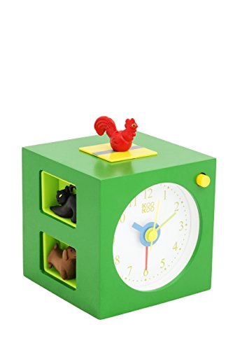 KOOKOO KidsAlarm Grün, Kinderwecker mit 5 Bauernhoftieren und deren Tierstimmen, echte Aufnahmen aus der Natur, Gehäuse aus MDF Holz