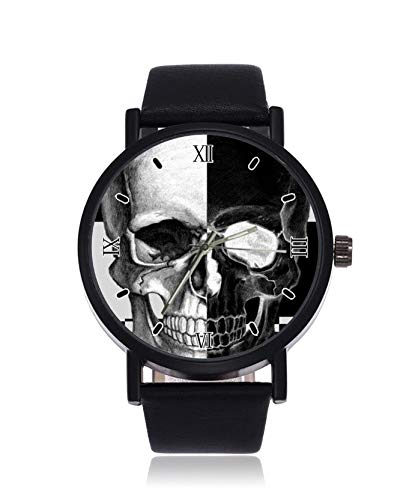 Herren-Armbanduhr mit Totenkopf-Art-Motiv, Quarzuhrwerk, Edelstahl, Lederband, Freizeituhr
