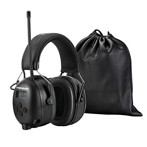 (Upgraded) PROHEAR 033 Bluetooth 5.0 Headphones with FM/AM Radio, with Rechargeable 2000 mAH Battery for Mowing Lawn Work-Black