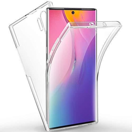 COPHONE - Carcasa 360 Compatible con Samsung Galaxy Note 10 Plus 100% Transparente 360 Protección Integral Delantera Suave + Trasera rígida Funda táctil 360 Grados Anti Golpes.